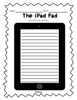 The iPad Fad Fluency Passage & Comprehension Activities