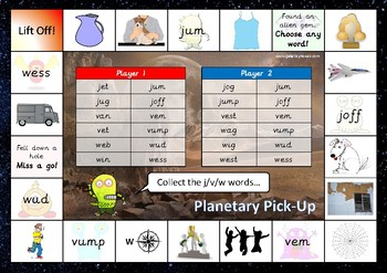 The j, v and w Phonics Games Pack