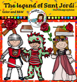 The legend of Sant Jordi clip art- Color and B&W