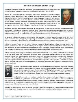 The life and work of Van Gogh - Reading Comprehension - Informational Text / Bio