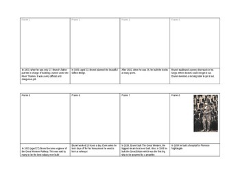 The life of Isambard Kingdom Brunel Comic Strip Template