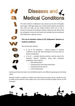 The link between Halloween and select diseases/ medical conditions