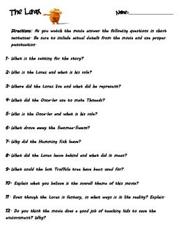 The Lorax Movie Questions By Janann Rodriguez Teachers Pay Teachers Worksheets First Grade Lorax The Lorax Movie Questions