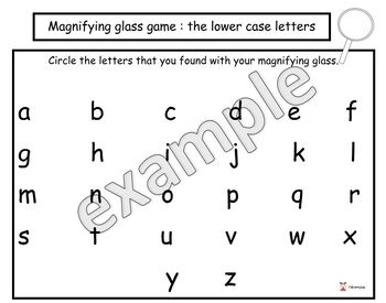 The magnifying glass game, lower case letters