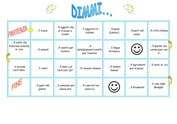 Vocabulary board game in Italian/ Dimmi (end of the year)