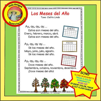 meses spanish months song coordinating printables flash cards trace color. Black Bedroom Furniture Sets. Home Design Ideas