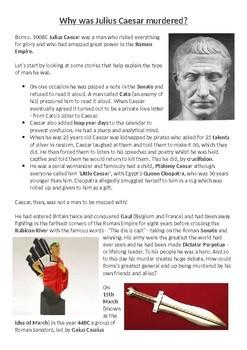 The murder of Julius Caesar Card Sort Activity