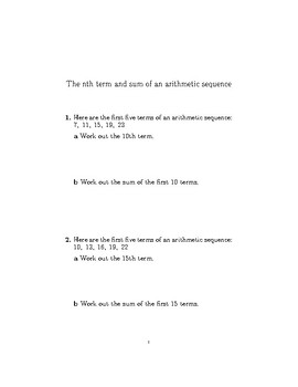 The nth term and sum of an arithmetic sequence