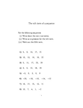 The nth term of a sequence