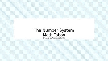 The number System math taboo game