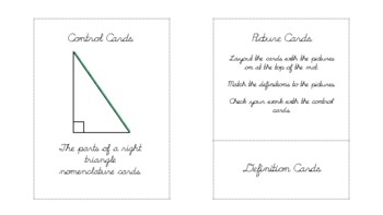 The parts of a right triangle Geometry nomenclature cards in d'nealian cursive