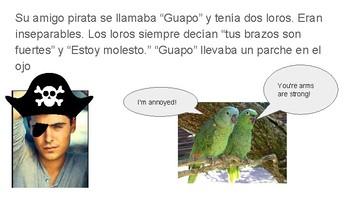 The pirate and his parrots, el pirata y sus loros