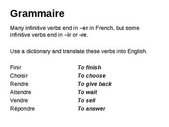 The present tense of -ir and -re verbs