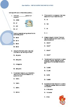 The real-life application of Maths worksheet (Food and Sport)
