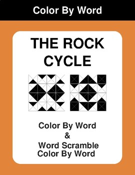 The rock cycle - Color By Word & Color By Word Scramble Worksheets