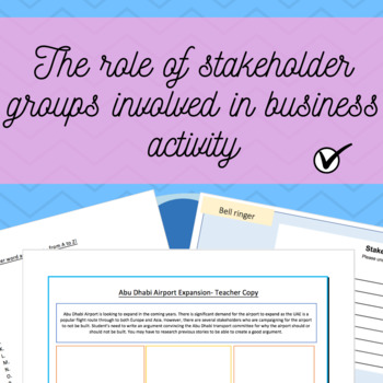 The role of stakeholder groups involved in business activity - Full Lesson