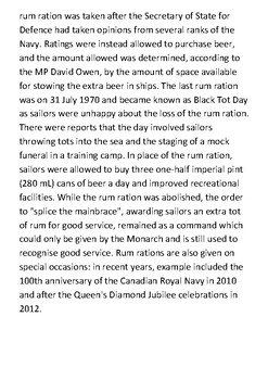 The rum ration and the Royal Navy Handout
