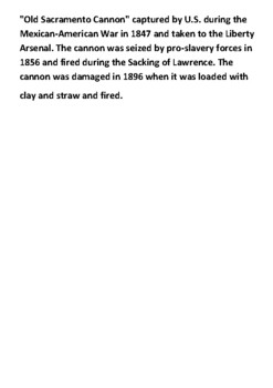 The sack of Lawrence 1856 Word Search and Source Account