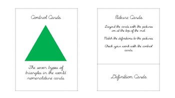 The seven types of triangles Geometry nomenclature cards in d'nealian cursive