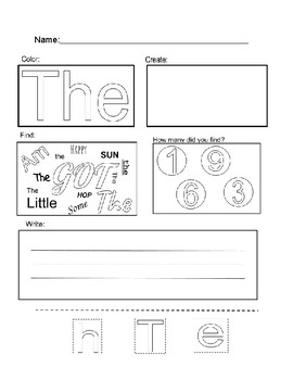 The- sight word page