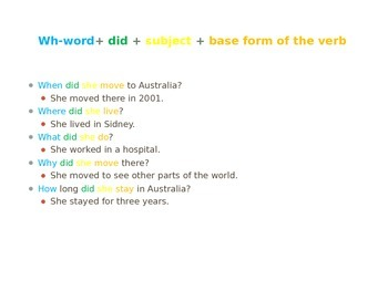 Past tense and group activity game - Alibi