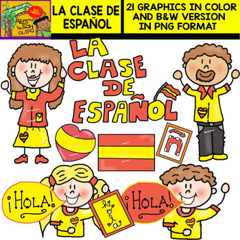 The Spanish Class - Cliparts set - 21 Items (FREEBIE FOR 2 DAYS)