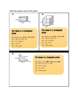 THE SURFACE AREAS OF PRISMS AND CYLINDERS