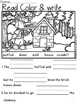 The three little pigs read color and write