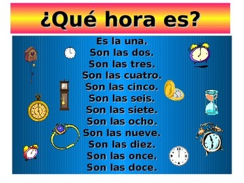 Teaching Resources. The time in Spanish (12 hour clock).