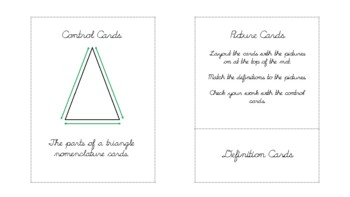The triangle and its parts Geometry nomenclature cards in d'nealian cursive