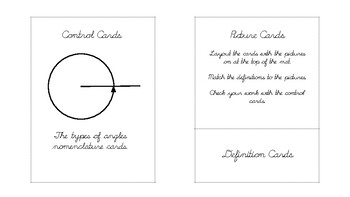 The types of angles Geometry nomenclature cards in d'nealian cursive