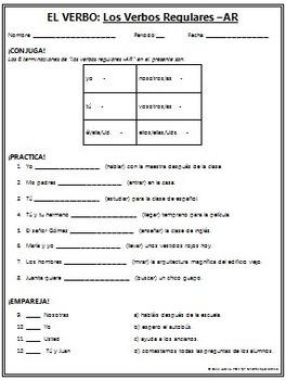 Spanish 1 - The verb: BUNDLE #2! Regular AR, ER, and IR verbs