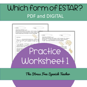 The verb ESTAR practice, PDF and Digital Resource included