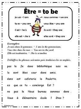 FRENCH: The verb Être with the Rooms and People of the School