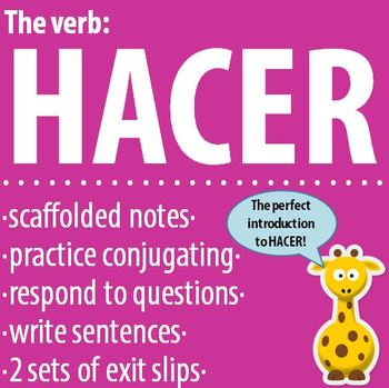 Spanish 1 - The verb: HACER - Intro, Practice, Respond, Write! *FREE*