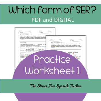 The verb SER practice, PDF and Digital Resource included