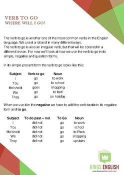 The verb to GO lesson plan