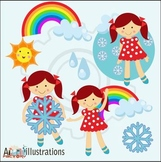 The weather girl clipart set