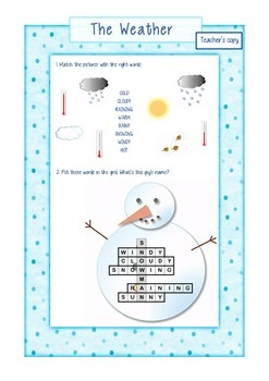 The weather - worksheet - FREEBIE!