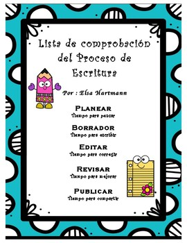 The writing process checklist poster in Spanish