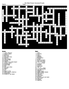 TheState Flower Crossword Puzzle and KEY