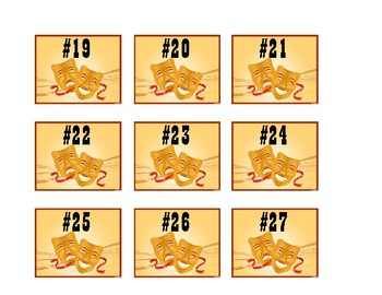 Theater Mask Numbered Labels  - Hollywood Theme Classroom