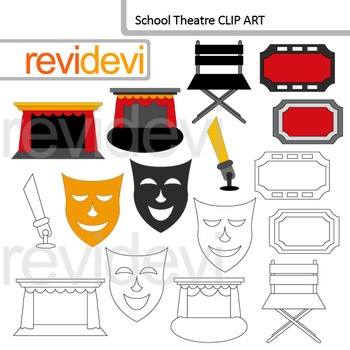 Theater clip art: proscenium, mask, ticket
