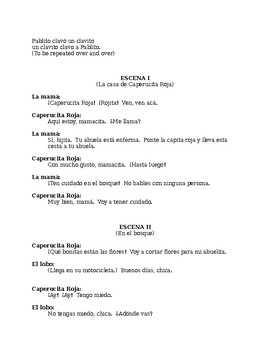 """Reader's Theater or Play """"Capercita Roja"""" (Little Red Riding Hood)"""
