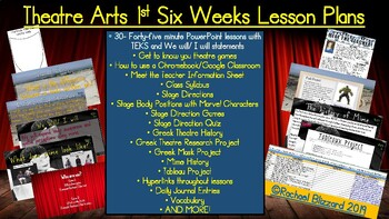 30 Theatre Arts Lesson Plans for the 1st Six Weeks