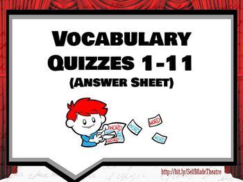 Theatre Arts/Drama Vocabulary Quiz Answer Sheet