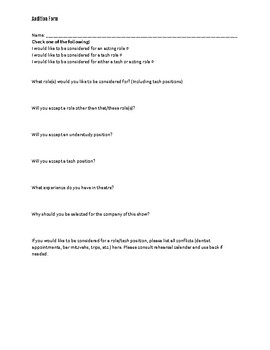 Forms: Theatre Audition Form