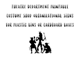 Theatre Department Printable Costume Shop Signs