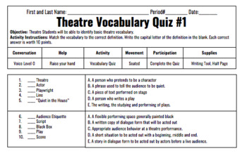 Theatre Do Now, Vocabulary Quizzes