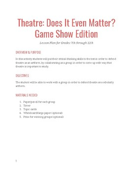 Theatre: Does It Even Matter? Game Show Edition